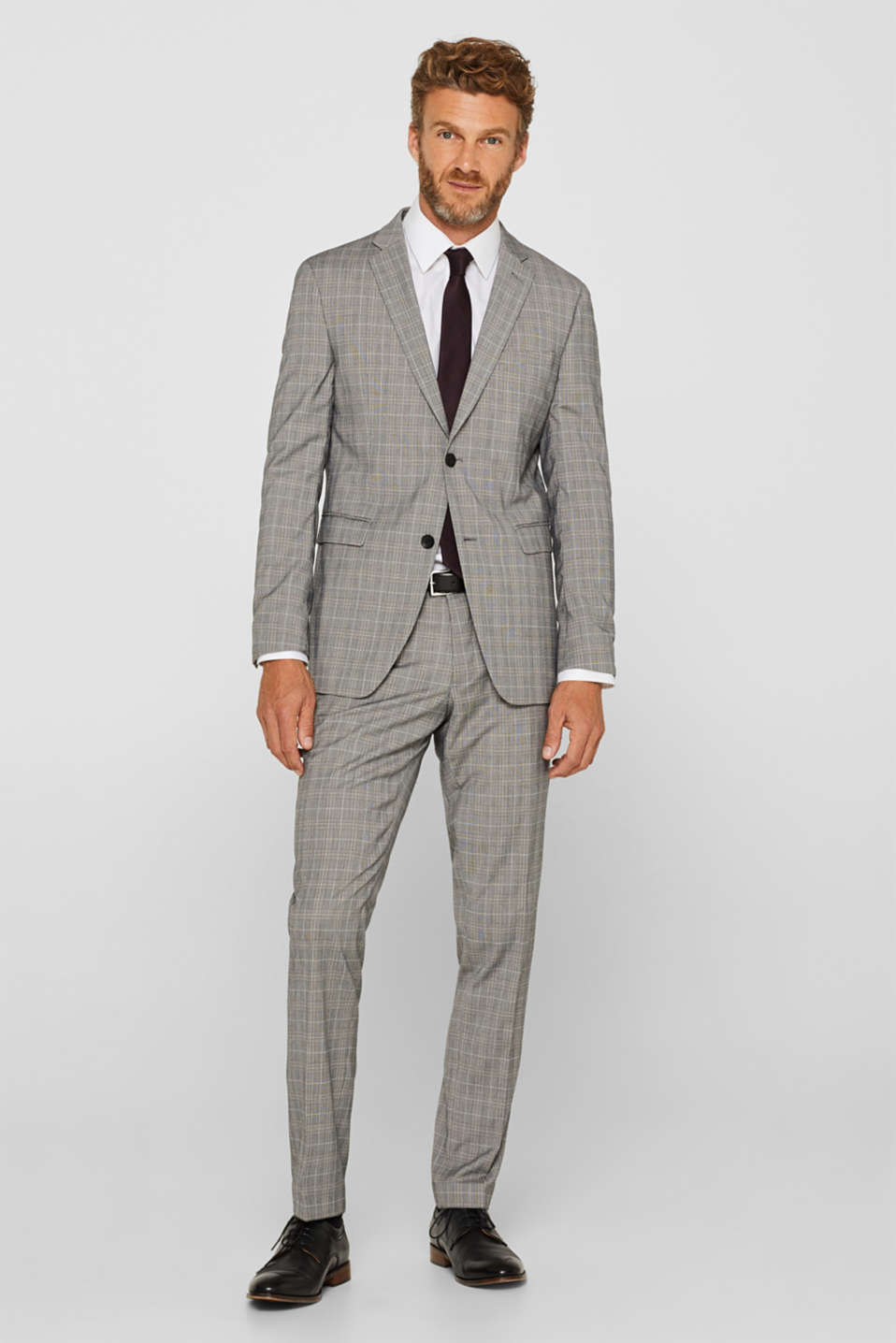 GLENCHECK mix + match: trousers with pressed pleats, GREY, detail image number 2