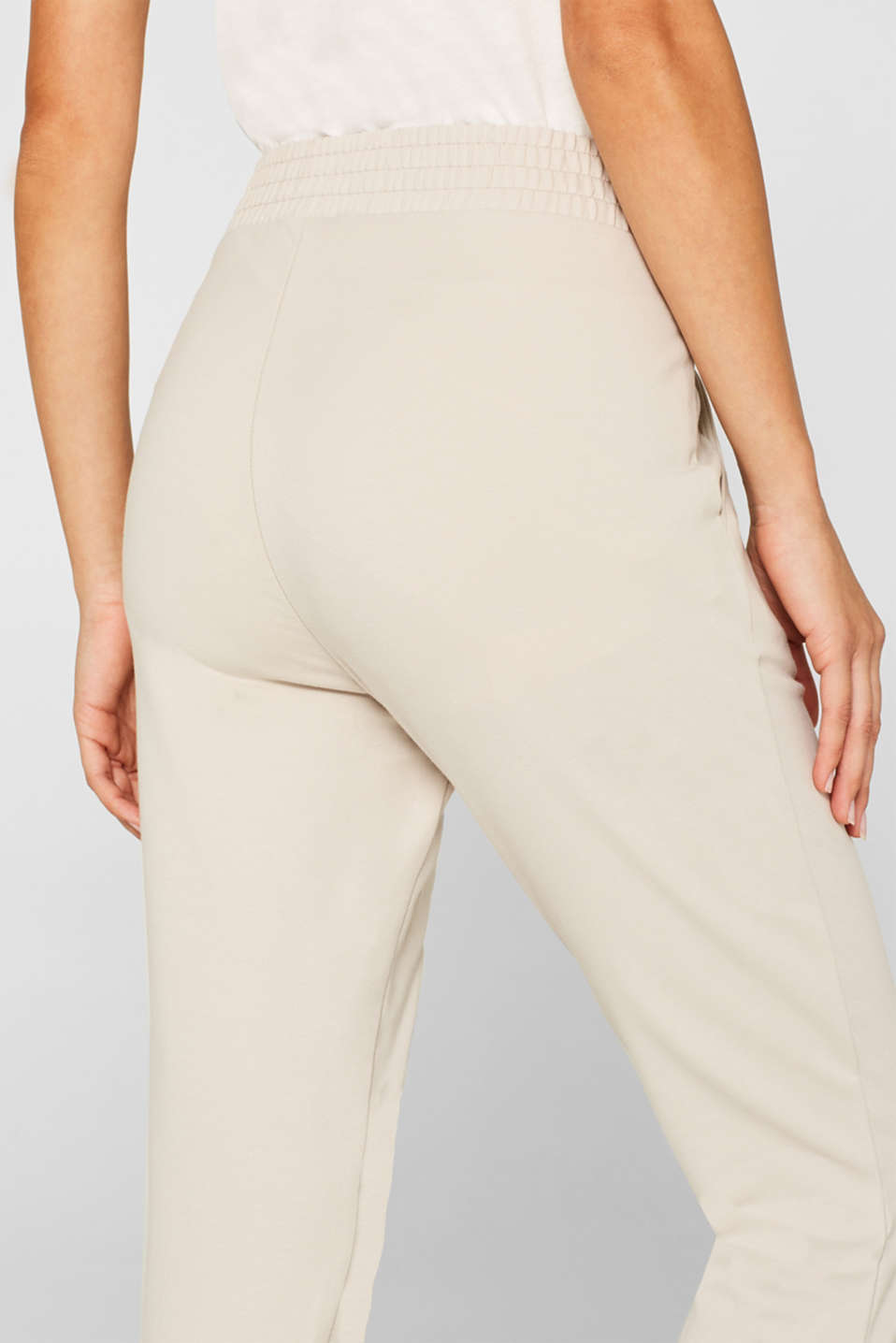 Tracksuit bottoms with stretch and organic cotton, LIGHT TAUPE, detail image number 4
