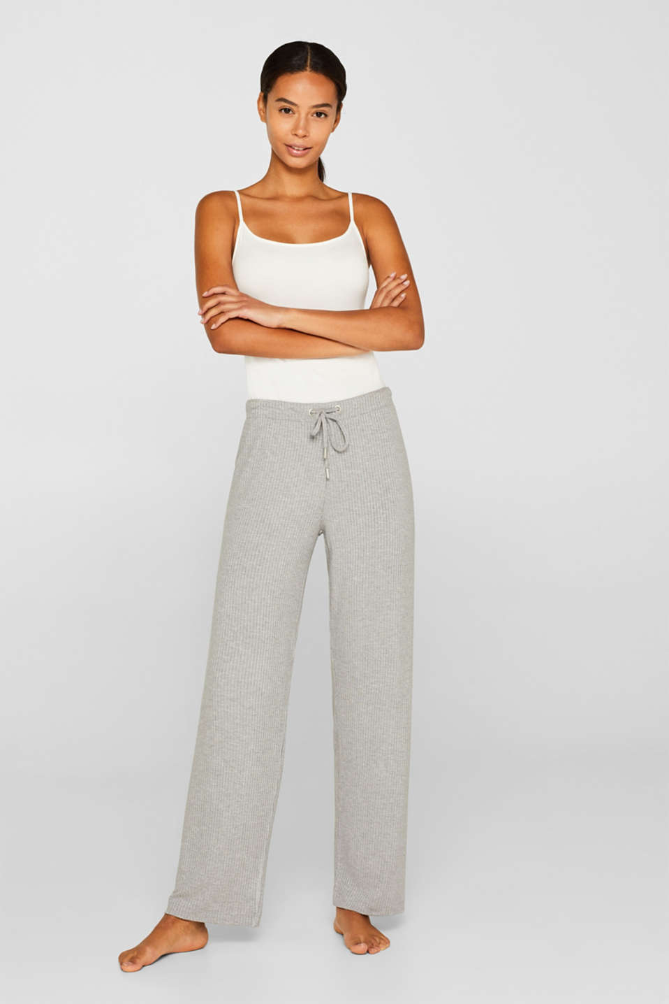 Esprit - Jersey stretch trousers with LENZING™ ECOVERO™