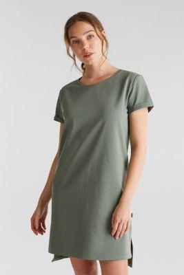 Loungewear dress made of stretch jersey, LIGHT KHAKI, detail