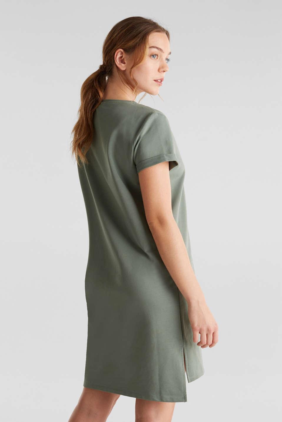 Stretch jersey dress with a high-low hem, LIGHT KHAKI, detail image number 1