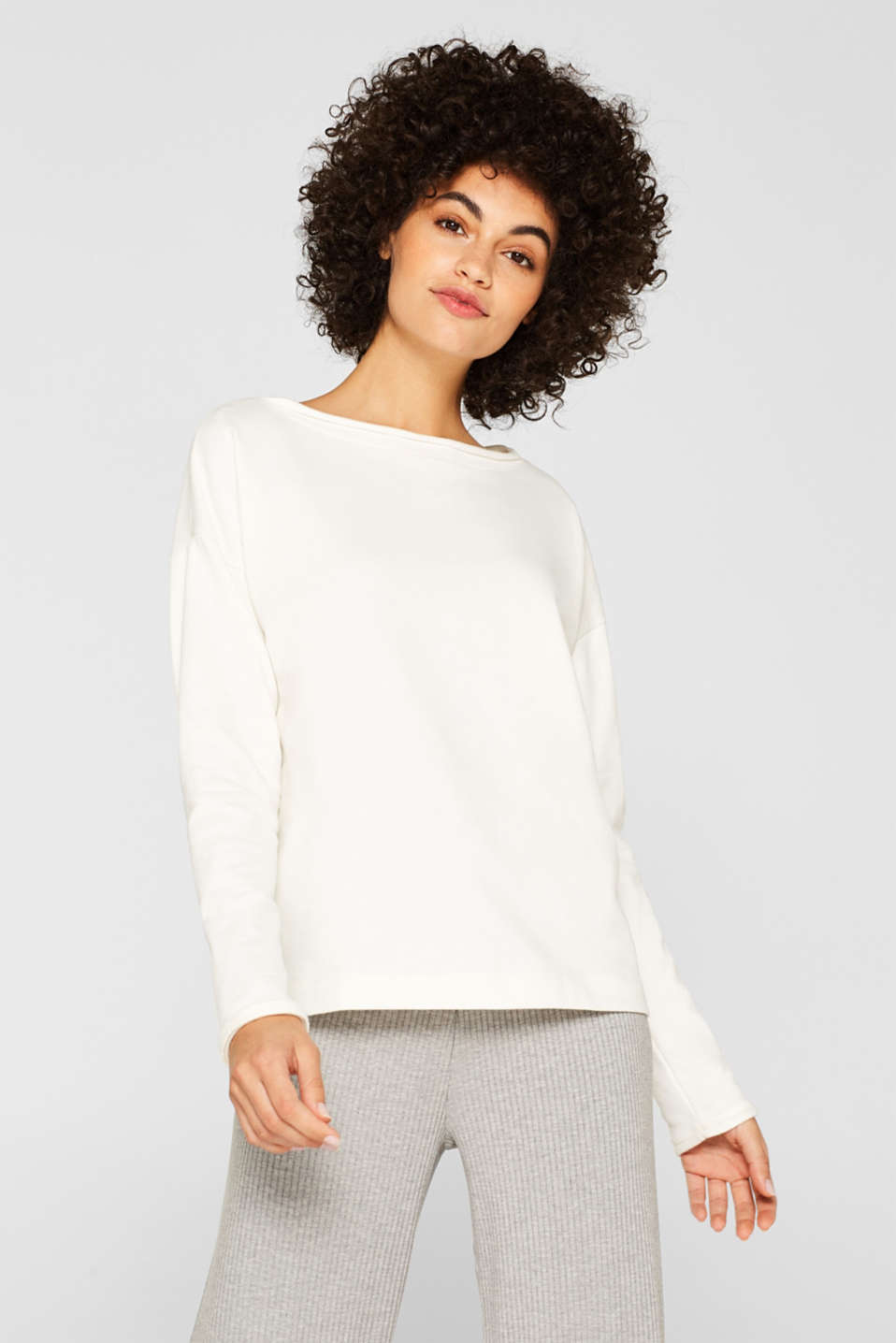 Esprit - Sweatshirt with organic cotton and fleece details
