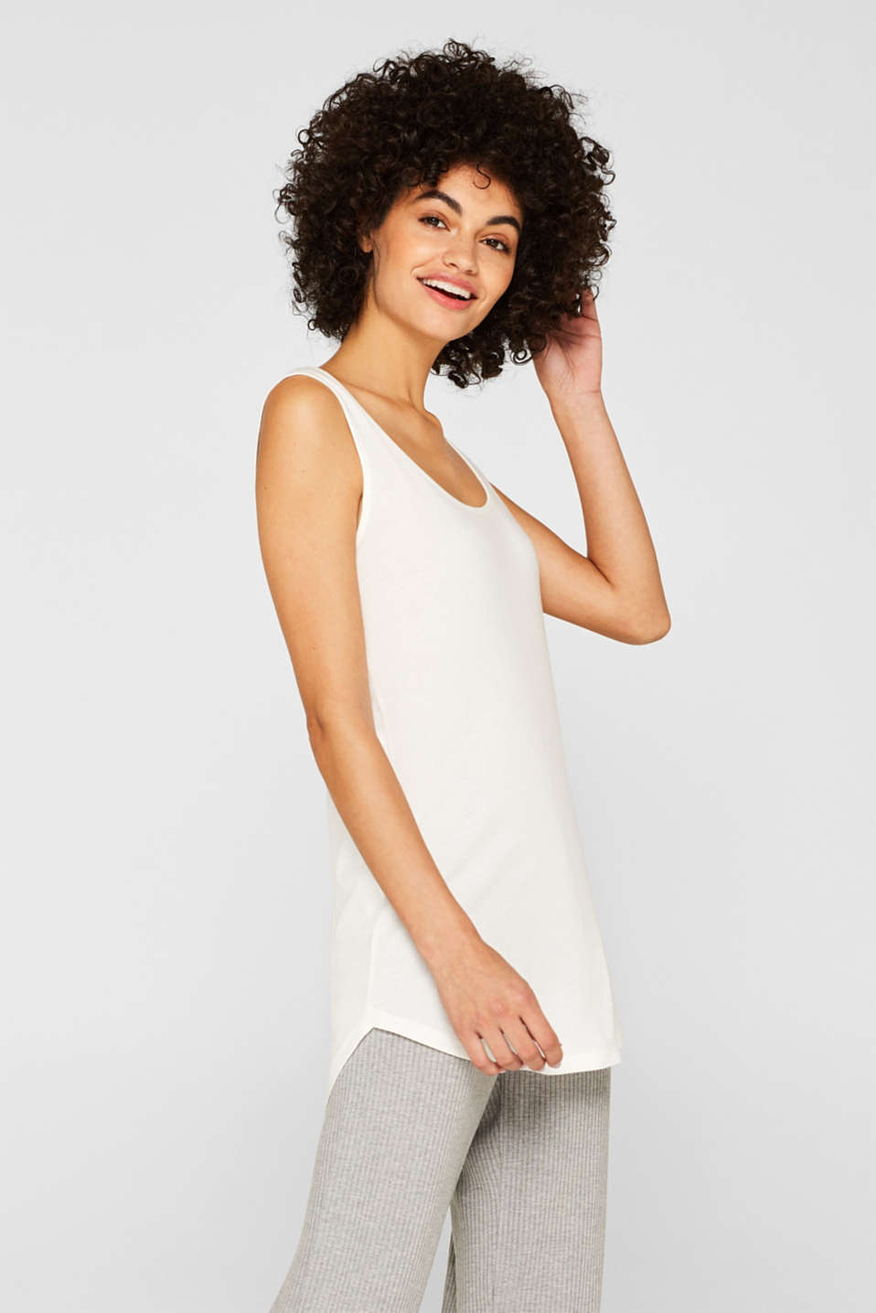 Esprit - Long-Top mit Organic Cotton und rundem Saum