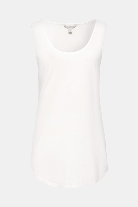 Long top with organic cotton and round hem