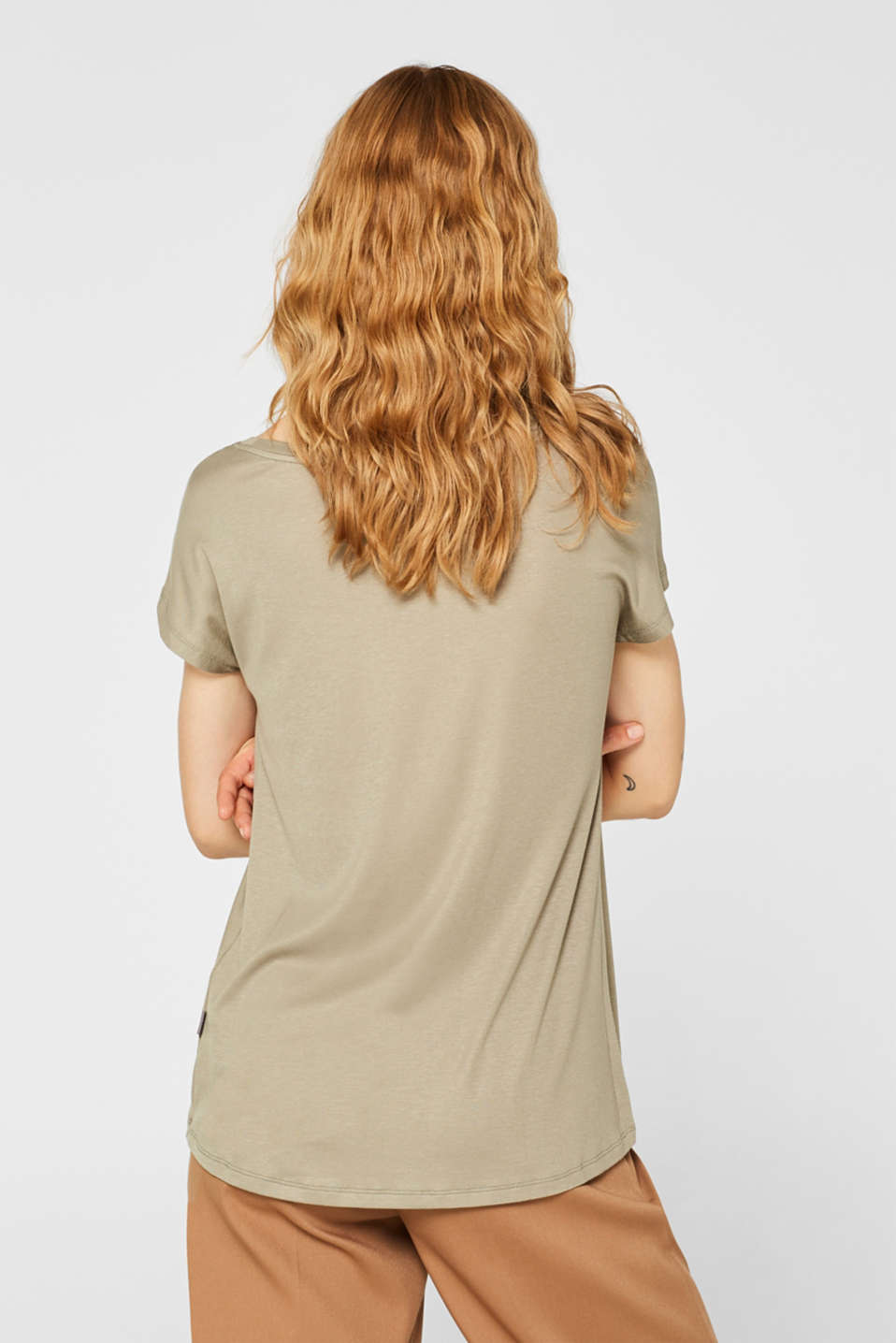 Sensationally soft T-shirt made of stretchy TENCEL™, LIGHT KHAKI, detail image number 3