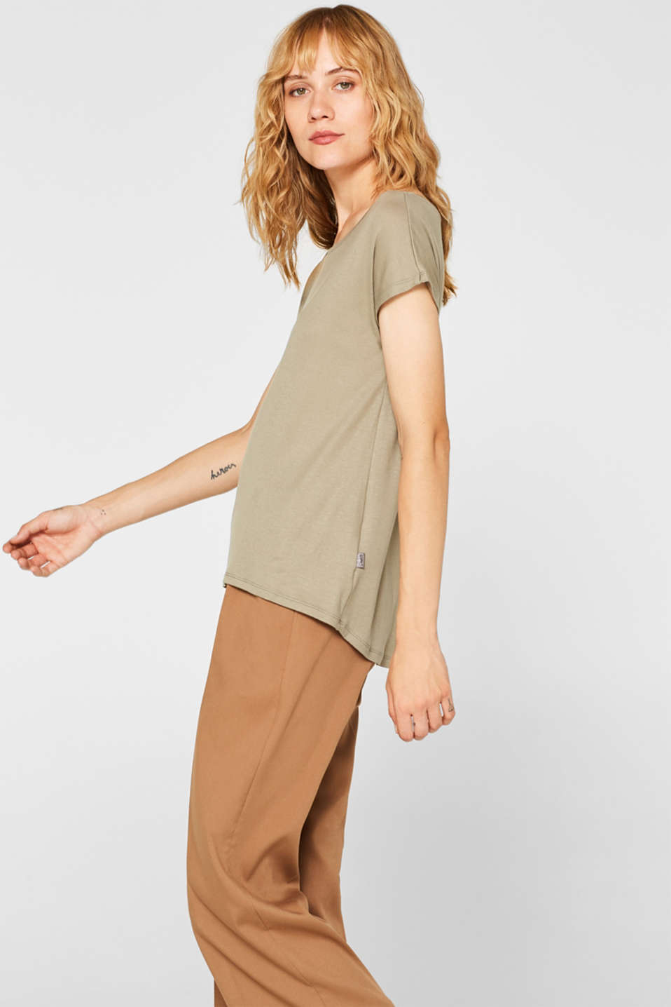 Sensationally soft T-shirt made of stretchy TENCEL™, LIGHT KHAKI, detail image number 5