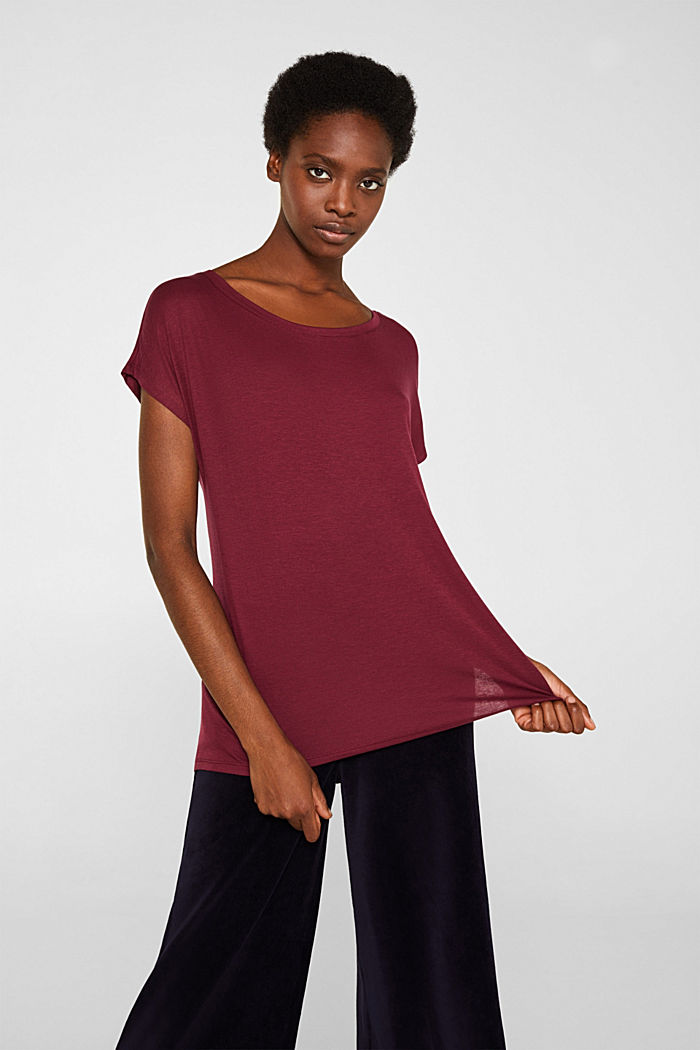Sensationally soft T-shirt made of stretchy TENCEL™, BORDEAUX RED, detail image number 0