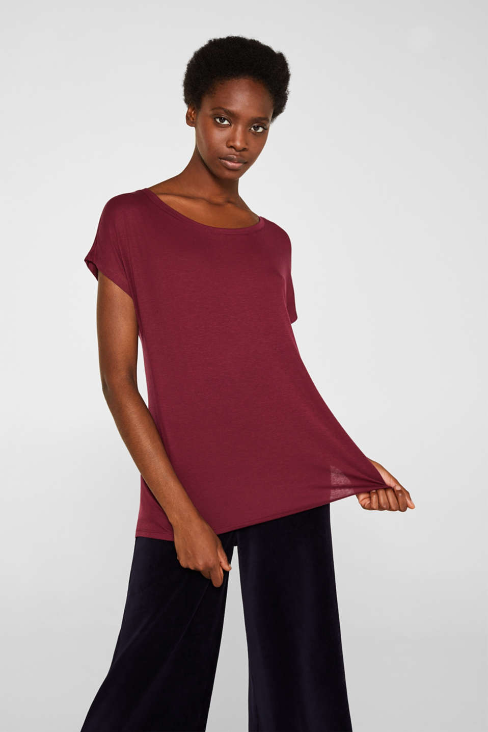 Esprit - Superzacht shirt van TENCEL™ met stretch