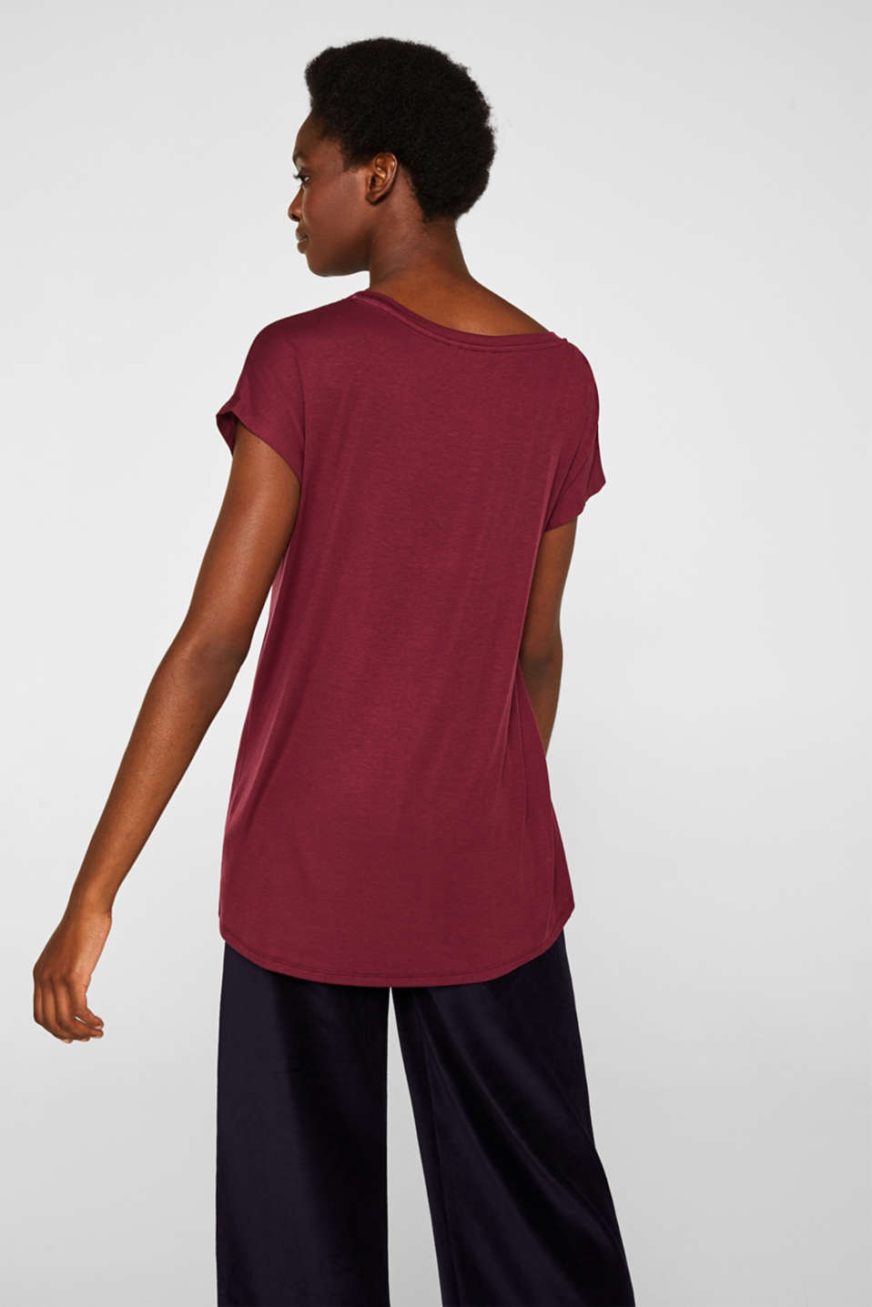 Sensationally soft T-shirt made of stretchy TENCEL™, BORDEAUX RED, detail image number 3