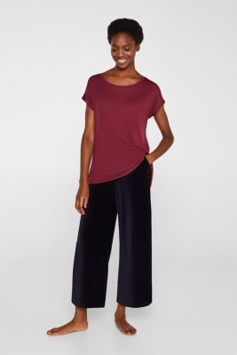 Sensationally soft T-shirt made of stretchy TENCEL™, BORDEAUX RED, detail