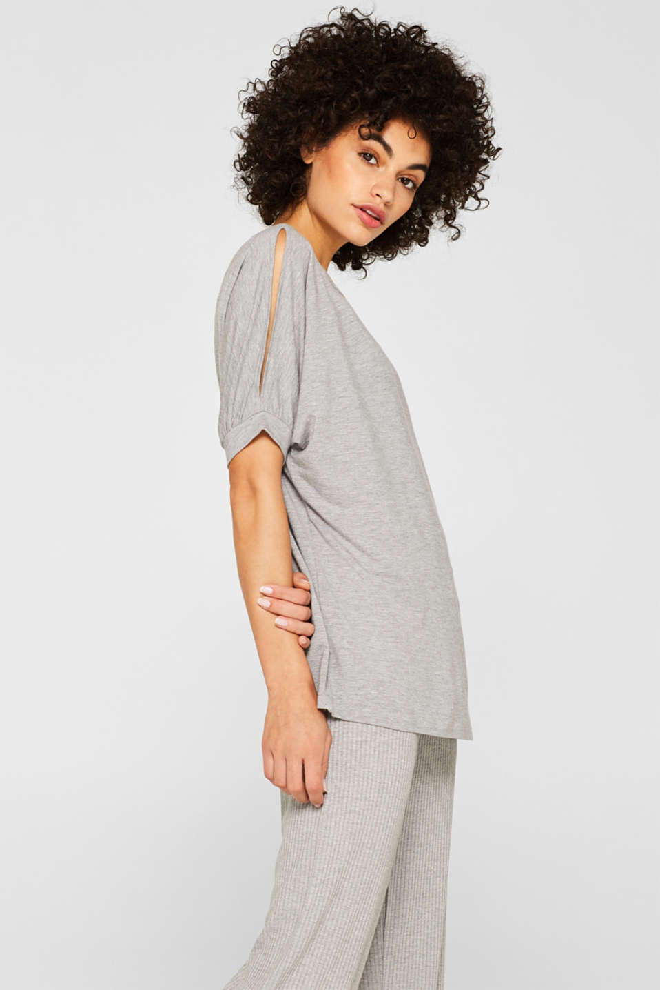 Esprit - Cold-shoulder-shirt met LENZING™ ECOVERO™-viscose