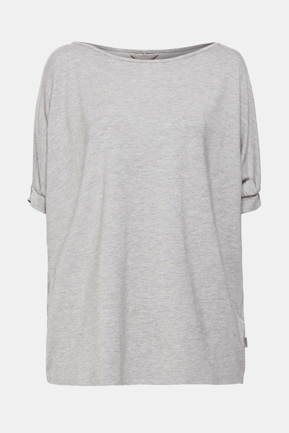 Cold shoulder top with LENZING™ ECOVERO™ viscose, GREY 2, detail image number 5