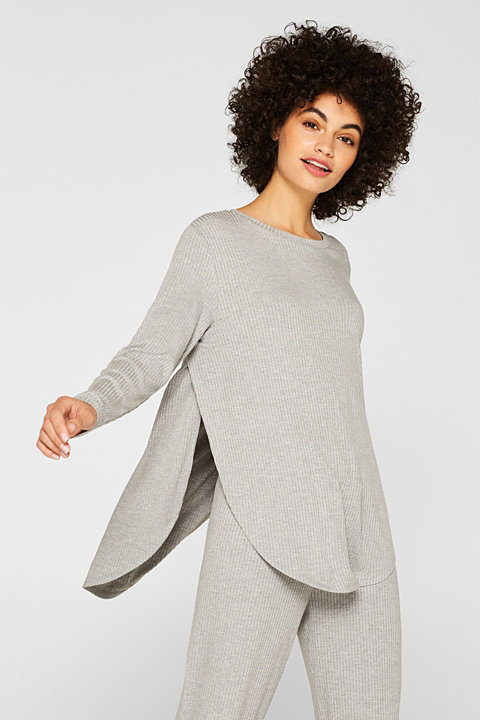 Ribbed long sleeve top with LENZING™ ECOVERO™