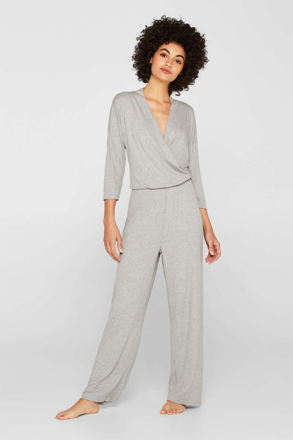Esprit - Stretch jersey jumpsuit with LENZING™ ECOVERO™