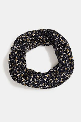 Recycled: snood scarf with a floral print, NAVY, detail