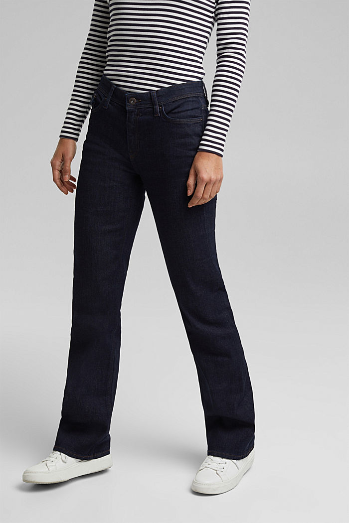 Bootcut jeans made of organic cotton, BLUE RINSE, detail image number 0
