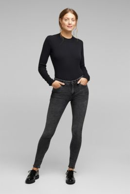 Super stretch jeans with organic cotton, BLACK MEDIUM WASH, detail
