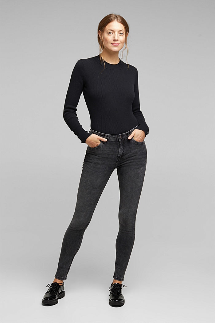Super stretch jeans with organic cotton, BLACK MEDIUM W, detail image number 1