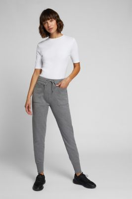 Knitted tracksuit bottoms with organic cotton, GUNMETAL 5, detail