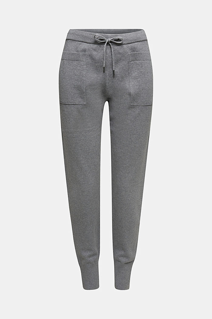 Knitted tracksuit bottoms with organic cotton