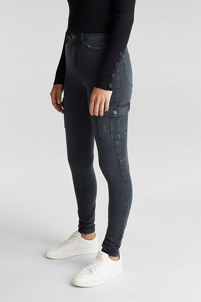 Two-way stretch cargo trousers with organic cotton, GUNMETAL, detail image number 0