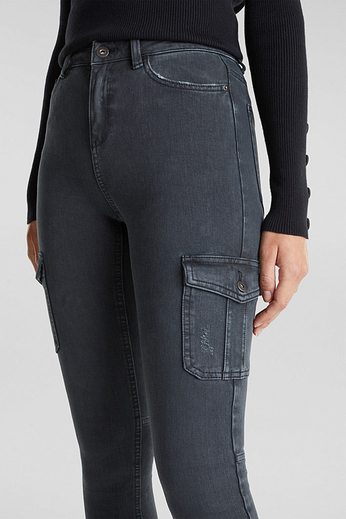 Two-way stretch cargo trousers with organic cotton, GUNMETAL, detail image number 2