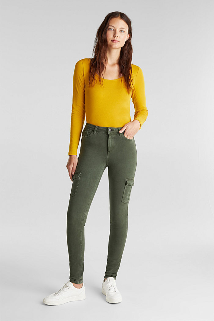 Two-way stretch cargo trousers with organic cotton, KHAKI GREEN, detail image number 6