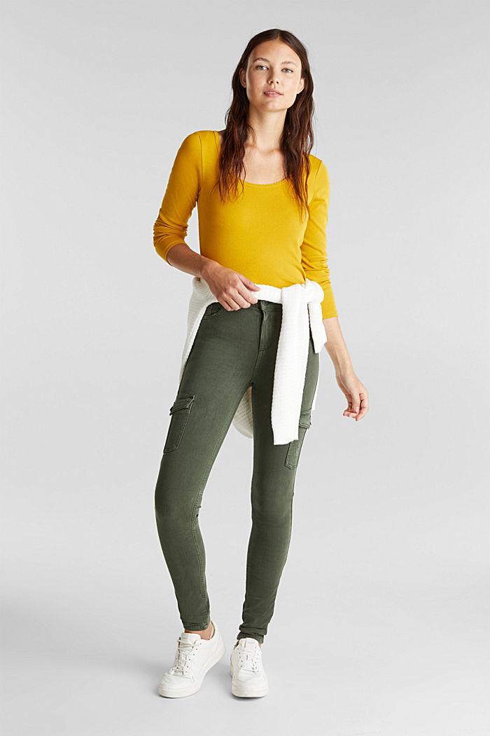 Two-way stretch cargo trousers with organic cotton, KHAKI GREEN, detail image number 1