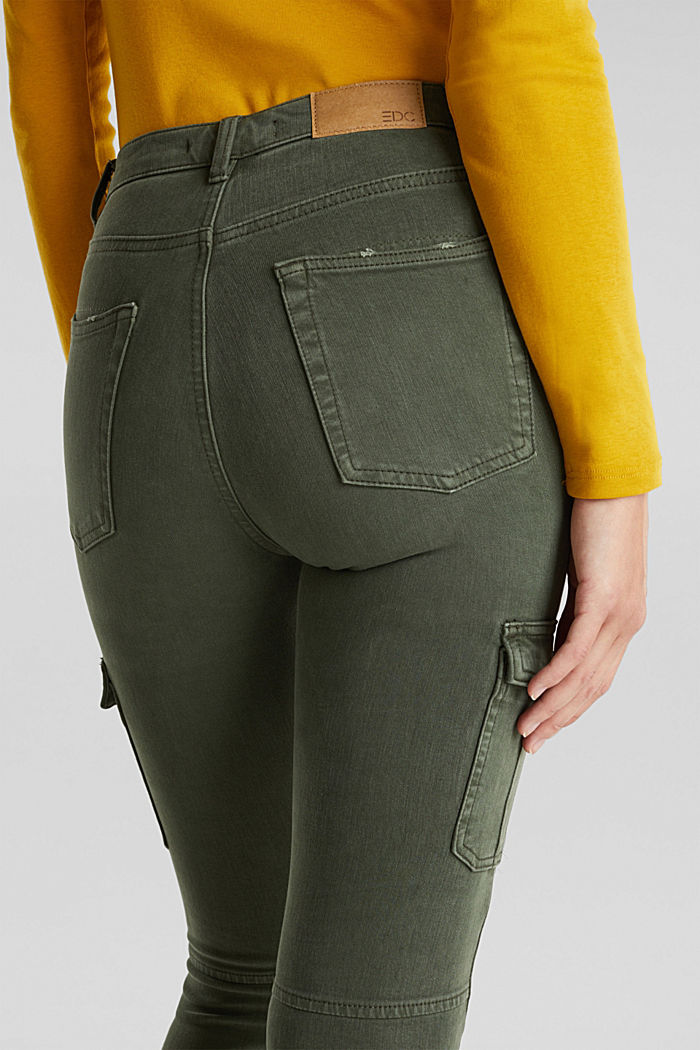 Two-way stretch cargo trousers with organic cotton, KHAKI GREEN, detail image number 5