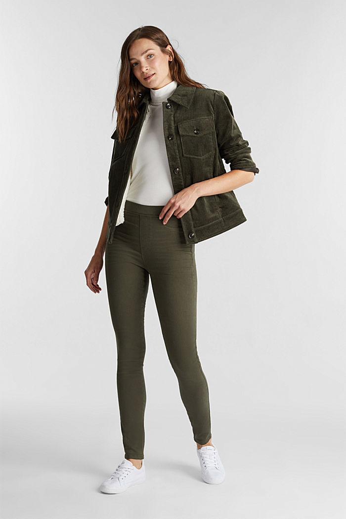 Treggings mit Stretch, KHAKI GREEN, overview