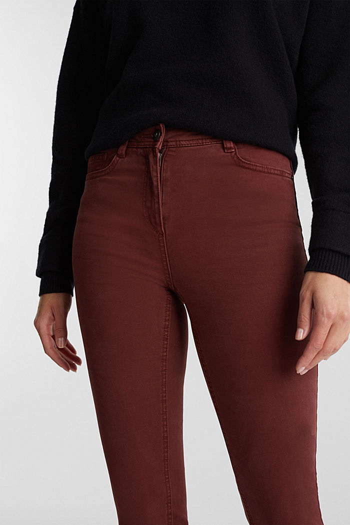 Stretch chinos with organic cotton, RUST BROWN, detail image number 2