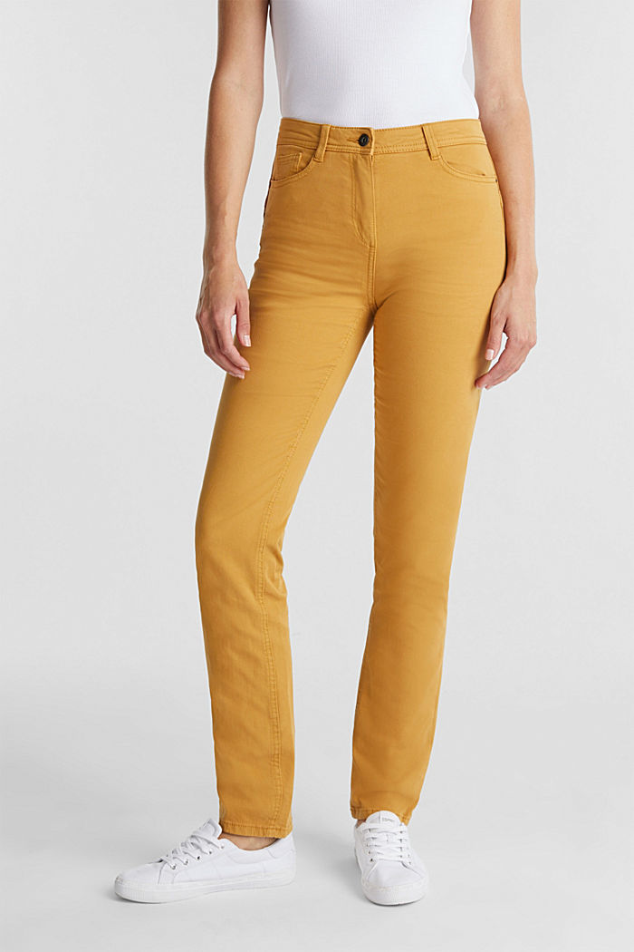 Stretch chinos with organic cotton, AMBER YELLOW, detail image number 0