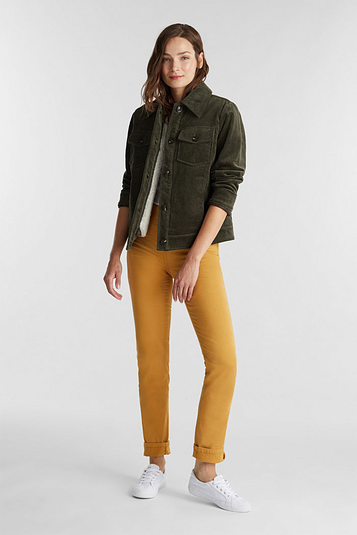 Stretch chinos with organic cotton, AMBER YELLOW, detail image number 1