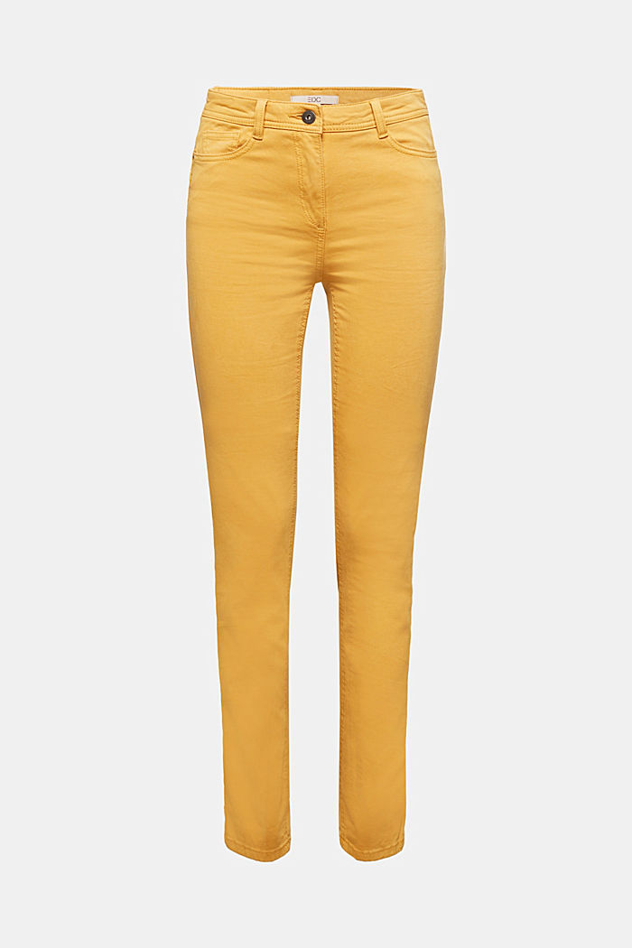 Stretch chinos with organic cotton, AMBER YELLOW, detail image number 5