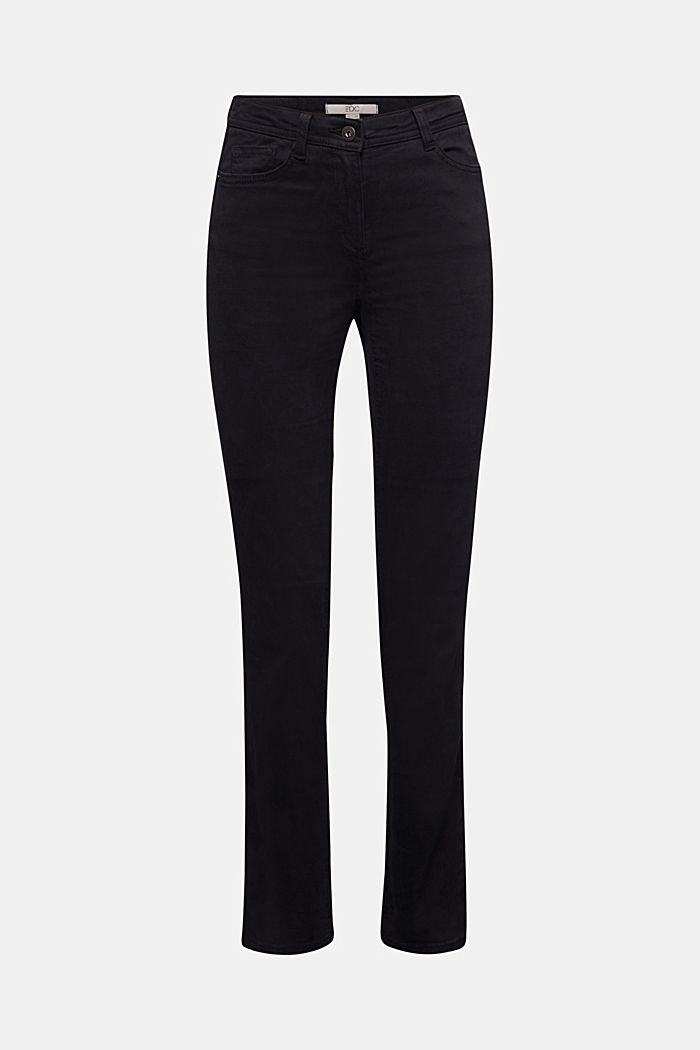 Stretch chinos with organic cotton, BLACK, detail image number 6