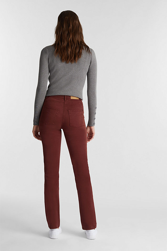 Stretch chinos with organic cotton, RUST BROWN, detail image number 3
