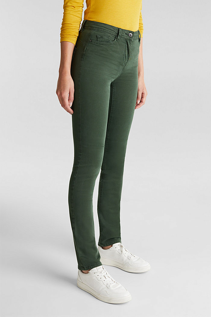 Stretch chinos with organic cotton, DARK GREEN, detail image number 0