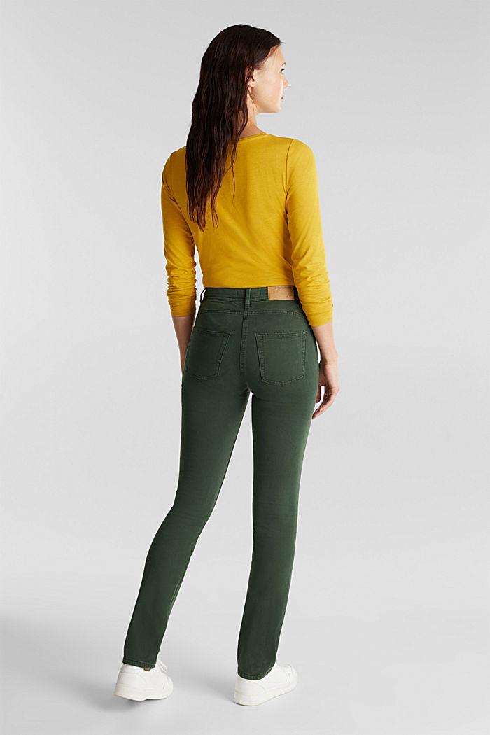 Stretch chinos with organic cotton, DARK GREEN, detail image number 3