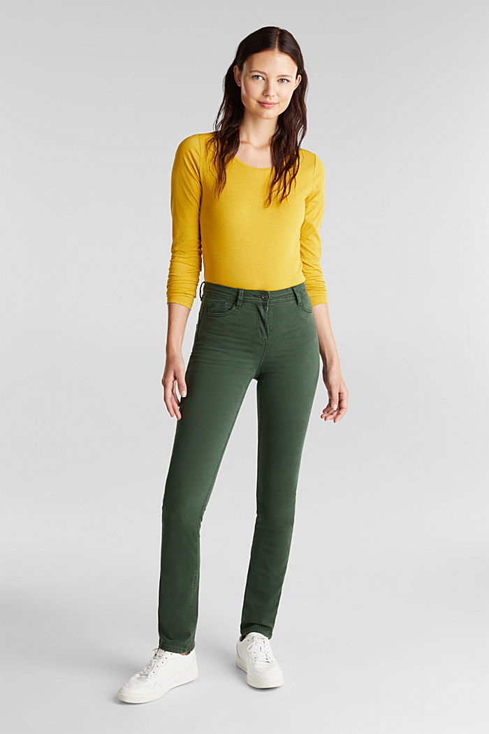 Stretch chinos with organic cotton, DARK GREEN, detail image number 1