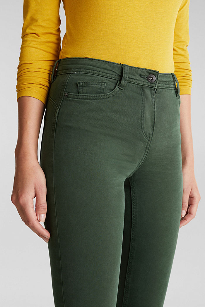 Stretch chinos with organic cotton, DARK GREEN, detail image number 2