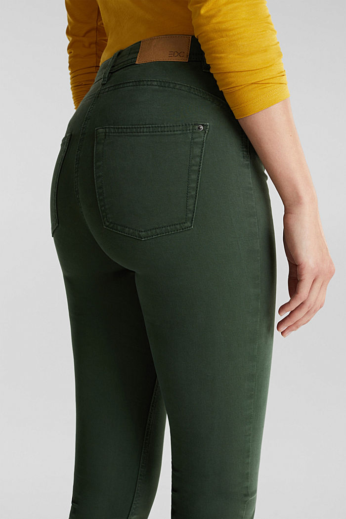 Stretch chinos with organic cotton, DARK GREEN, detail image number 5