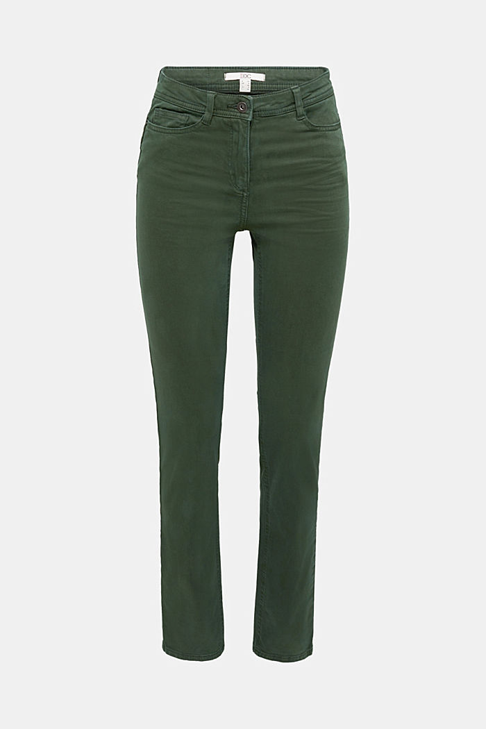Stretch chinos with organic cotton, DARK GREEN, detail image number 6
