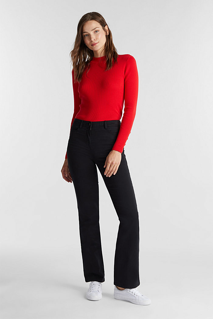 Super stretch trousers containing organic cotton, BLACK, detail image number 1