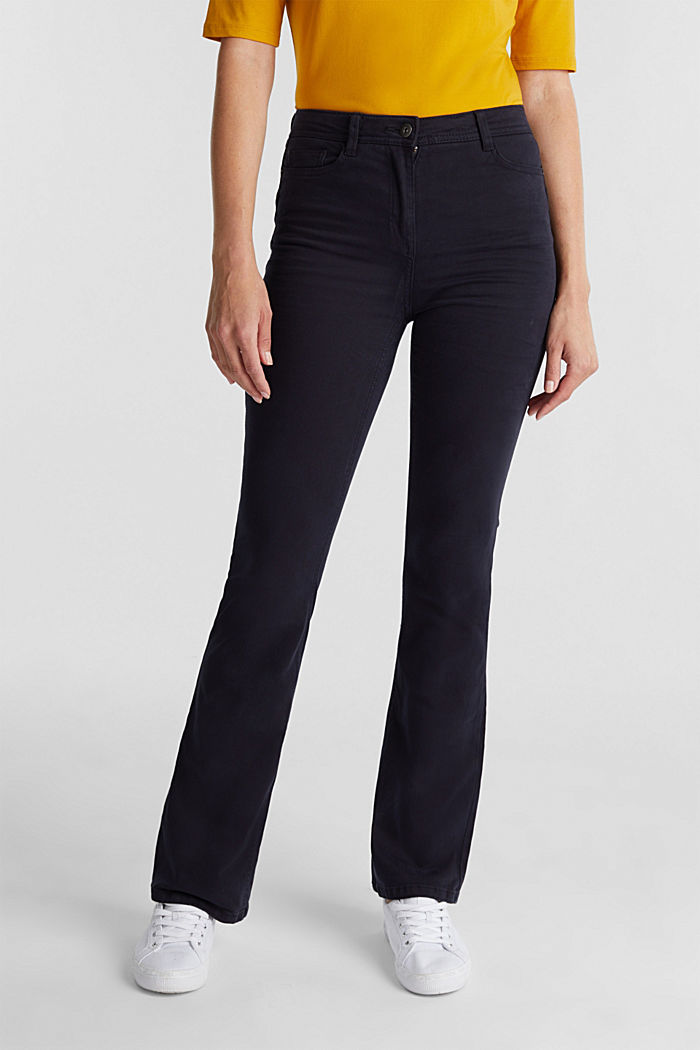 Super stretch trousers containing organic cotton, NAVY, detail image number 0