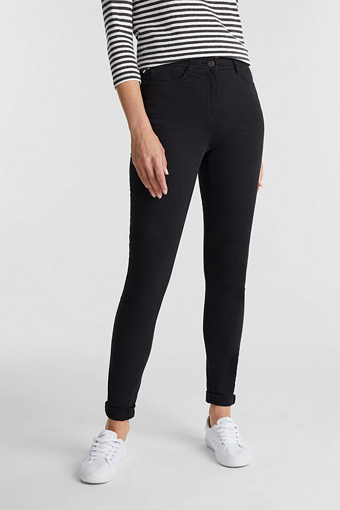 Super stretch trousers containing organic cotton, BLACK, detail image number 0
