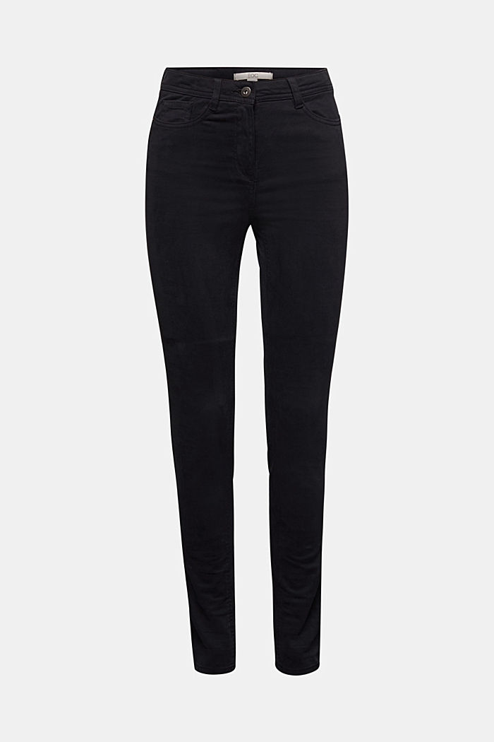 Super stretch trousers containing organic cotton, BLACK, overview