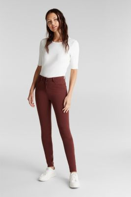 Super stretch trousers containing organic cotton, RUST BROWN, detail