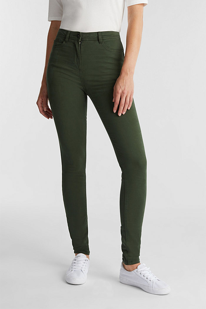 Super stretch trousers containing organic cotton, DARK GREEN, detail image number 0