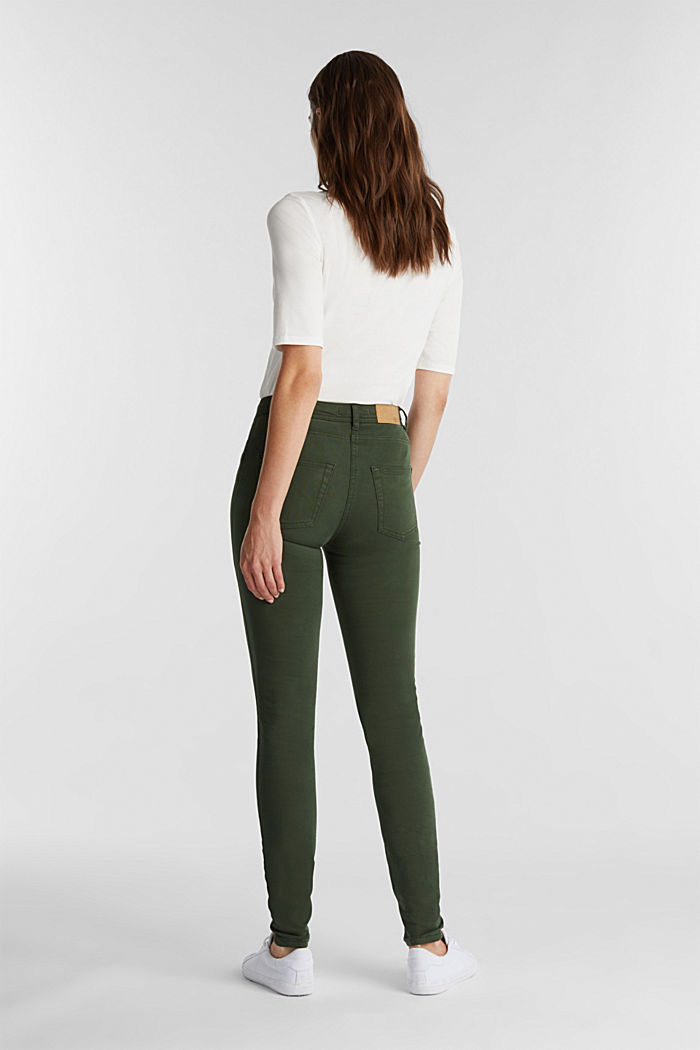 Super stretch trousers containing organic cotton, DARK GREEN, detail image number 3