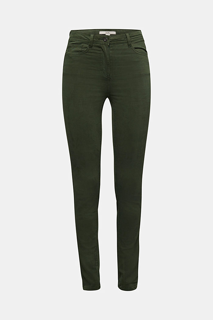 Super stretch trousers containing organic cotton, DARK GREEN, detail image number 5